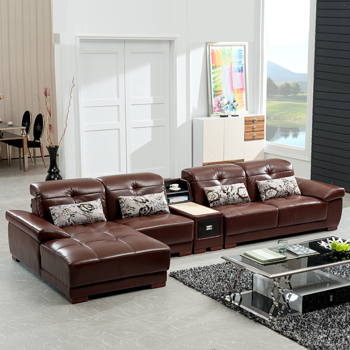 爱家缘木真皮形储藏海绵简约现代沙发