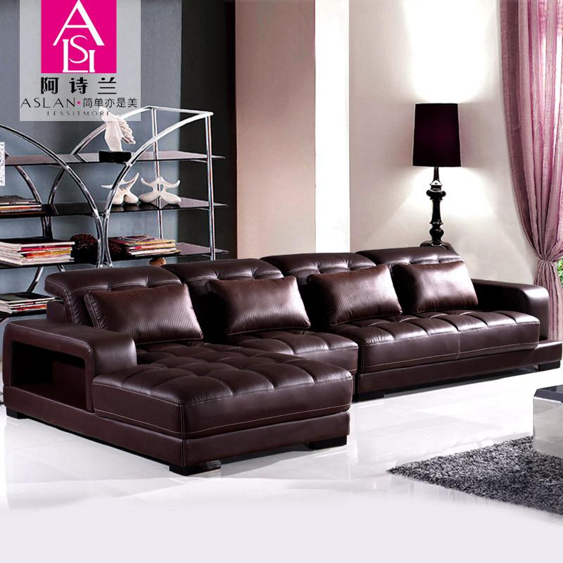 阿诗兰接触面真皮形木质工艺桦木多功能海绵简约现代沙发