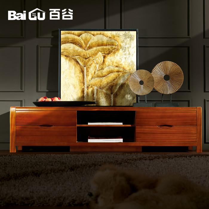 百谷 啞光噴漆框架結構柚木儲藏抽象圖案成人現代中式 電視柜