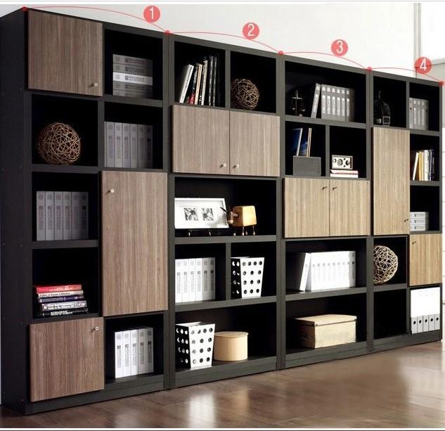 悠家美 木紋刨花板/三聚氰胺板儲藏成人簡約現代 書柜