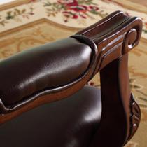 全真皮再生皮实木高弹泡沫海绵抽象图案成人美式乡村 KS-701B-2沙发椅