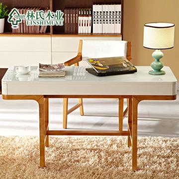 林氏木业图片色电脑桌橡胶木现代中式书桌