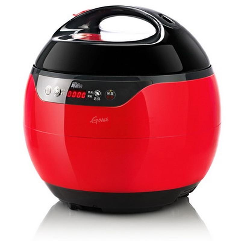 洛贝 红色全塑面盖单胆电脑版 电压力锅