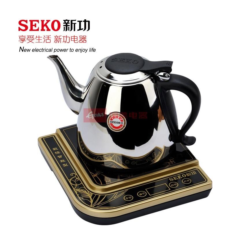 SEKO新功 304不銹鋼內壁標示隨手泡電茶壺電熱管加熱 金電水壺