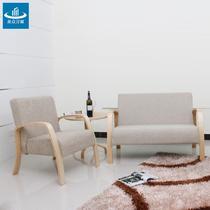 实木中密度泡沫海绵艺术成人简约现代 QZ-Y1491双人沙发椅