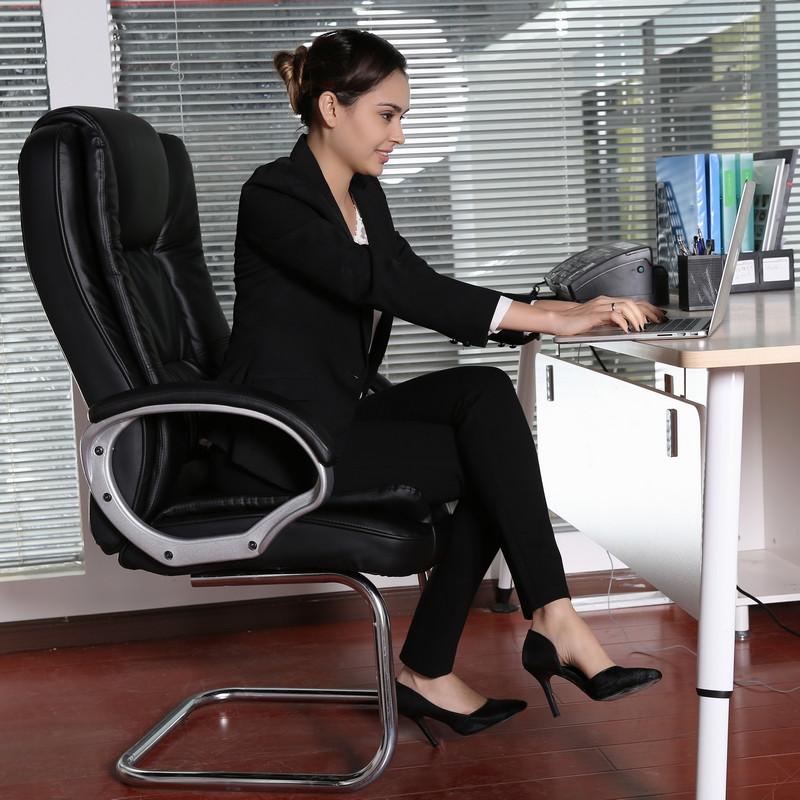 伊籟 固定扶手尼龍腳鋼制腳皮藝松木 電腦椅