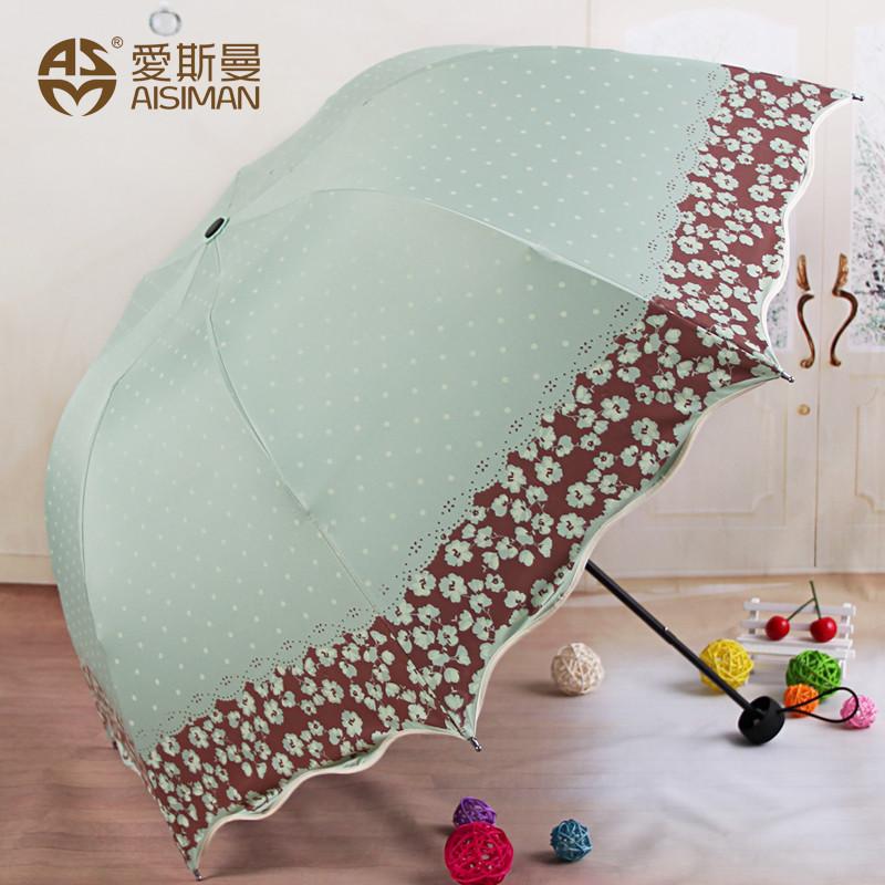 愛斯曼 黑膠手動碰擊布3321遮陽傘三折傘成人 遮陽傘
