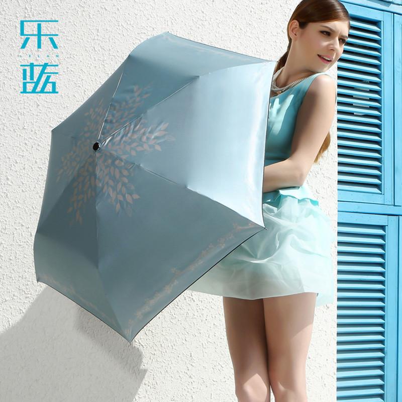 乐蓝手动涤纶黑胶晴雨伞三折伞成人遮阳伞