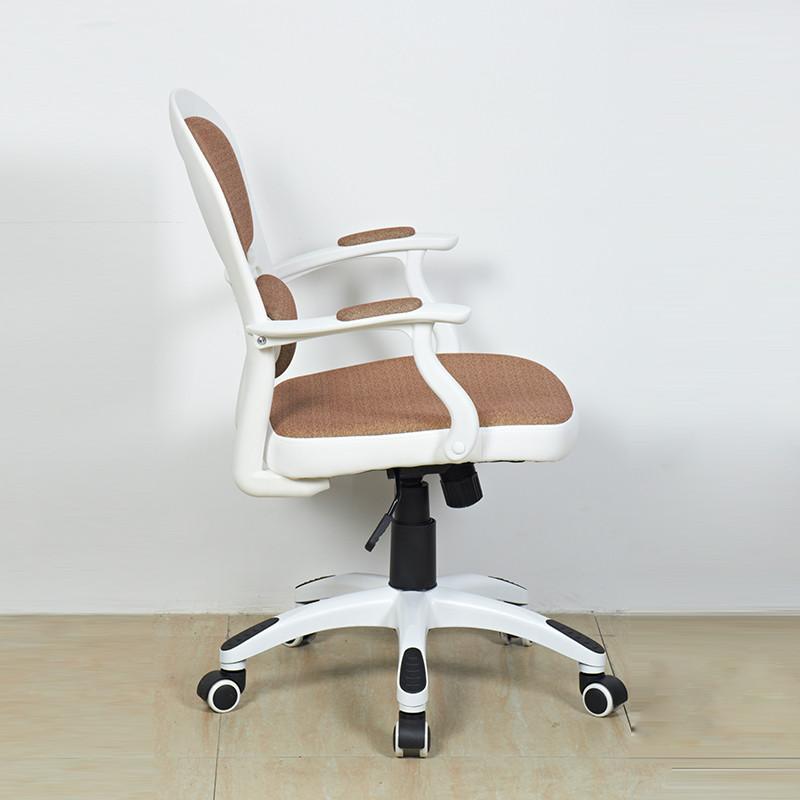 椅辈子人造板固定扶手尼龙脚钢制脚布艺胶合板电脑椅