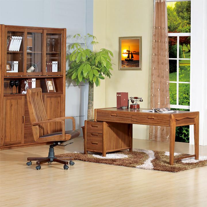 艾歌核桃墨色固定扶手实木脚皮艺电脑椅