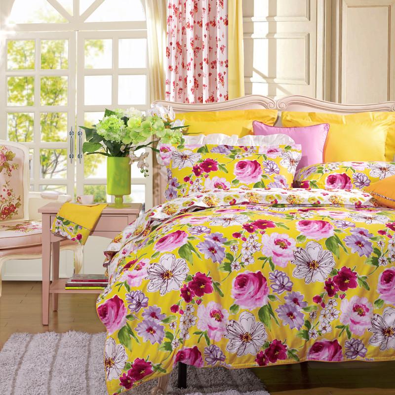 圣之花黄色红色活性印花田园斜纹植物花卉床单式韩式风床品件套四件套