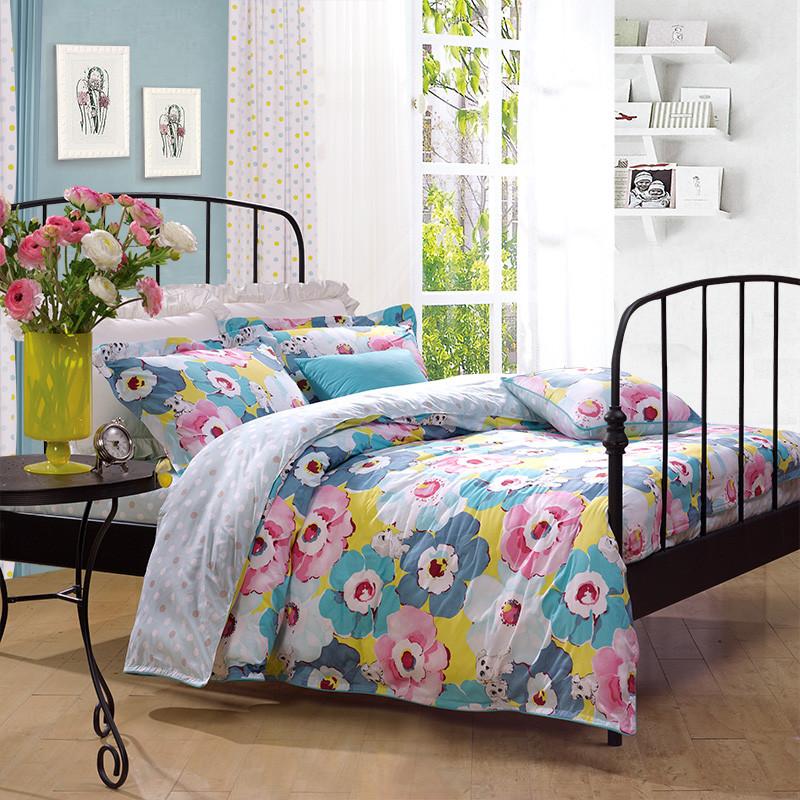 圣之花蓝色田园斜纹卡通动漫床单式卡通风床品件套四件套