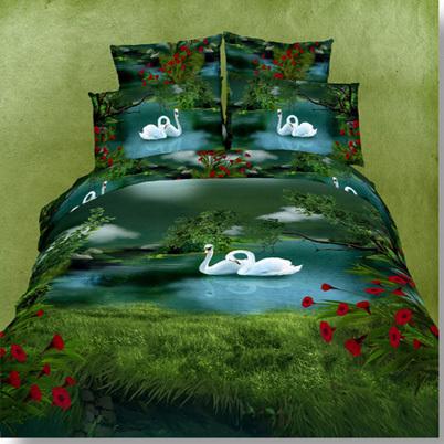 微派活性印花欧式斜纹风景床单式古典民族风床品件套四件套