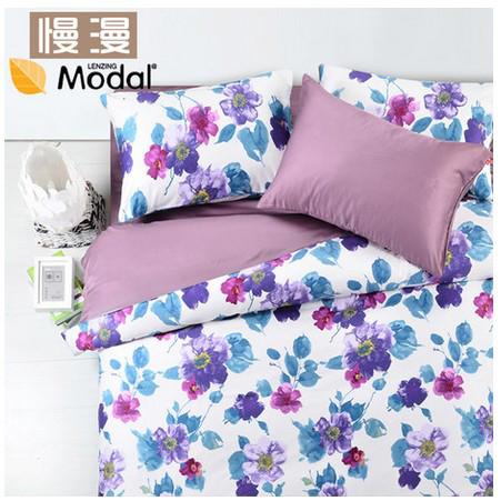 慢漫新古典后现代植物花卉床单式简约风床品件套四件套