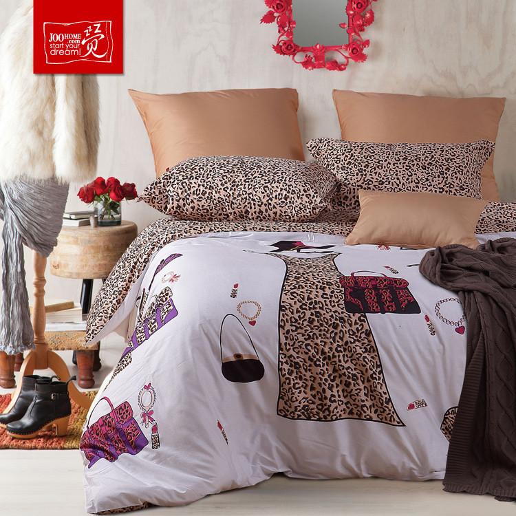 觉桔色简约现代斜纹长绒棉卡通动漫床单式欧美风床品件套四件套