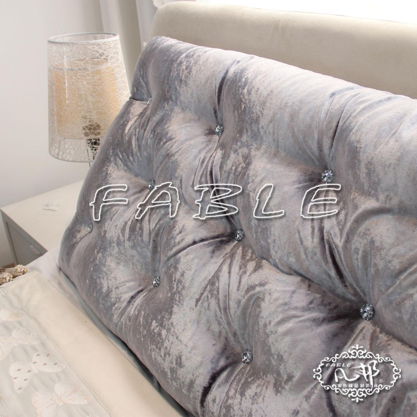 凡邦 布床頭大靠墊/靠背 床頭軟包 絲絨 可折洗 定做 三排扣靠墊化纖純色歐式 靠墊