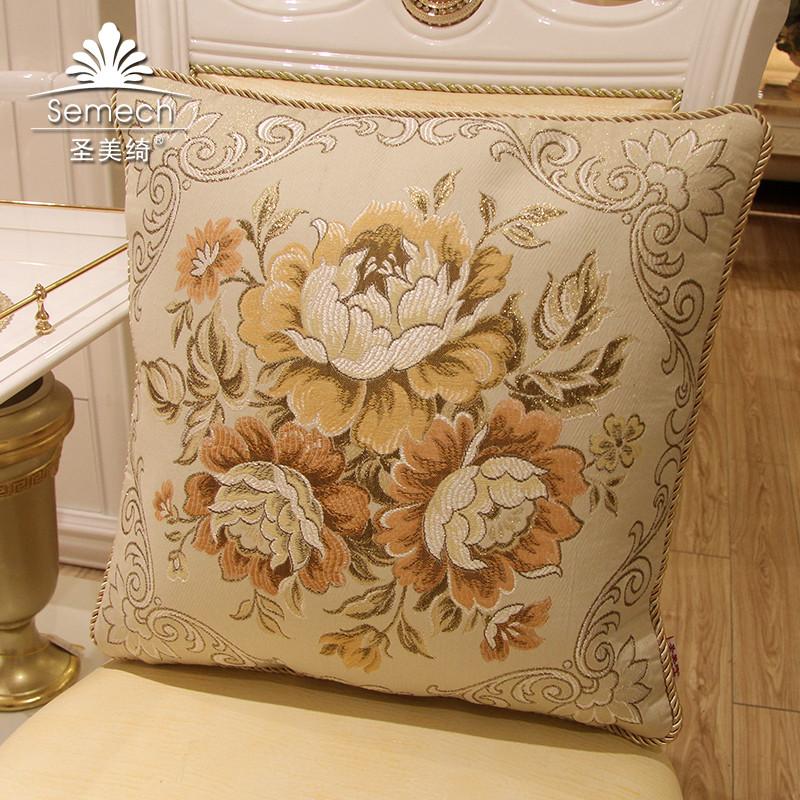 圣美绮布靠垫棉植物花卉欧式靠垫