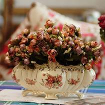 酒红豆沙红橙杏白陶瓷欧式 花盆