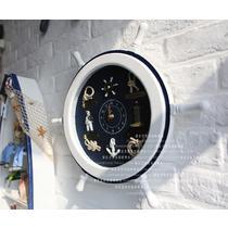 船长款绳结款木单面地中海 挂钟