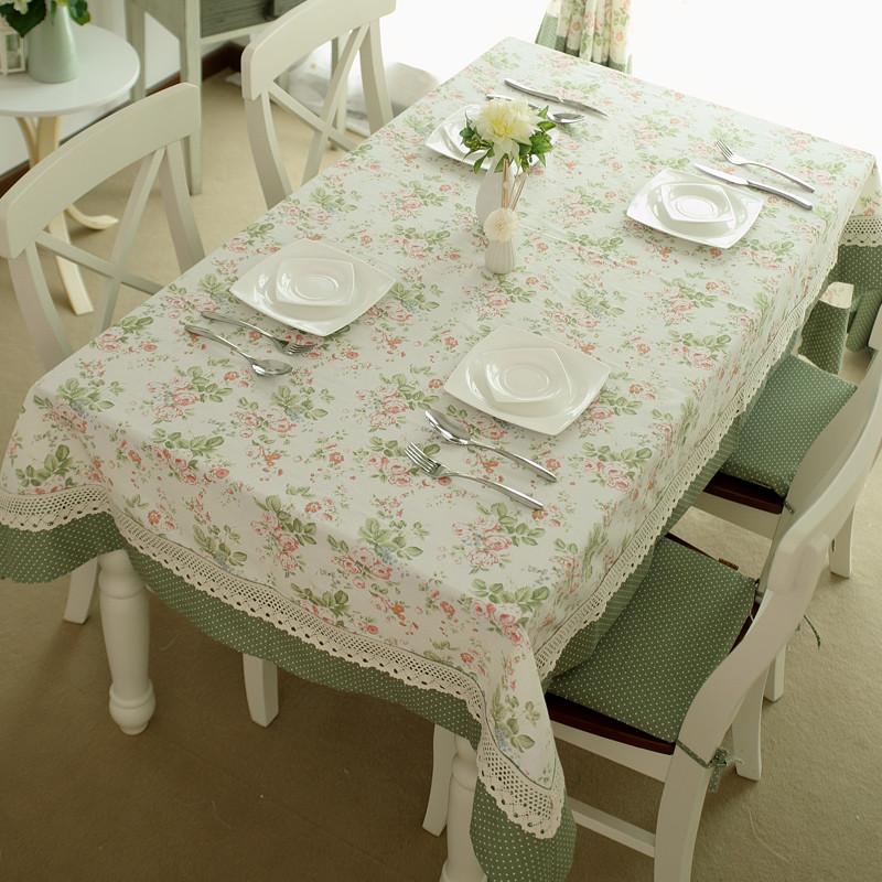 逸点花朵圆点拼接布条纹田园桌布