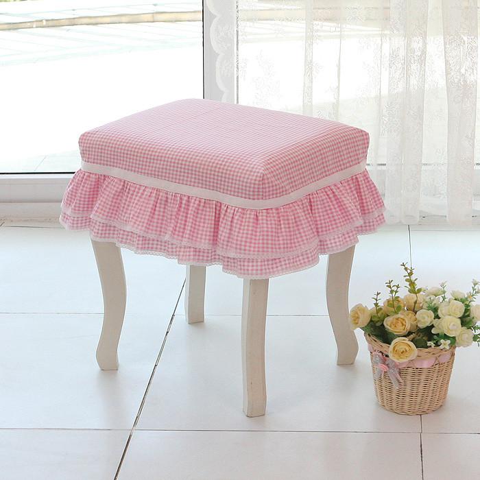 巧致生活粉红小格子布韩式防尘罩
