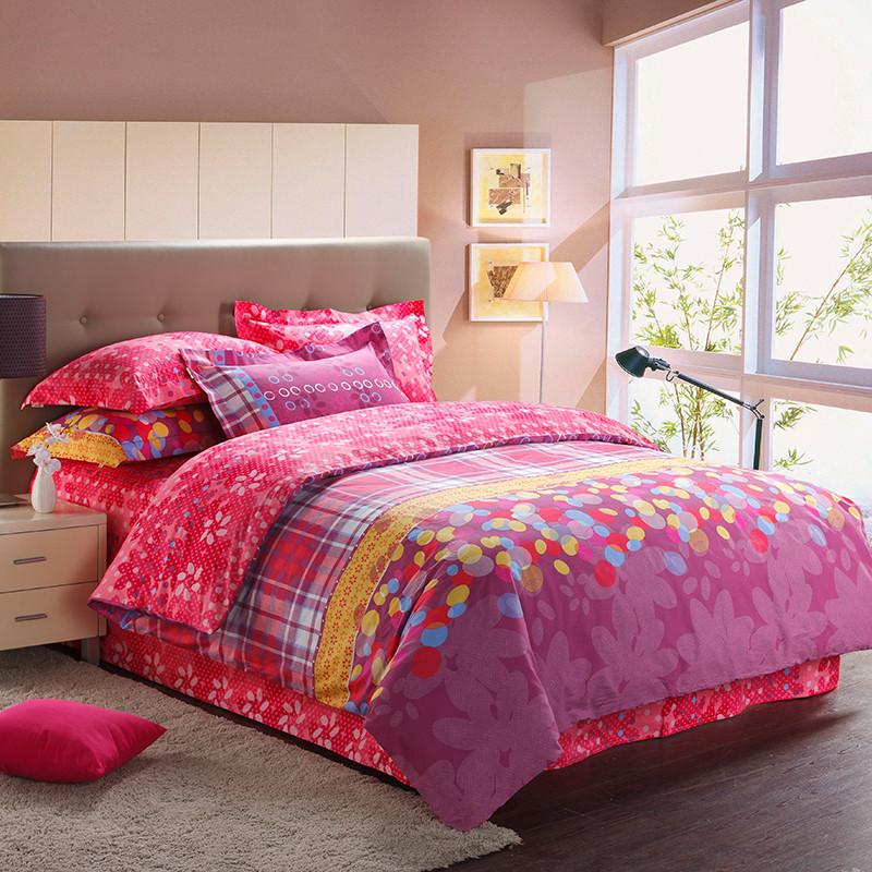 盛宇梦幻之城浓情绽放涂料印花简约现代斜纹条纹床单式简约风床品件套四件套