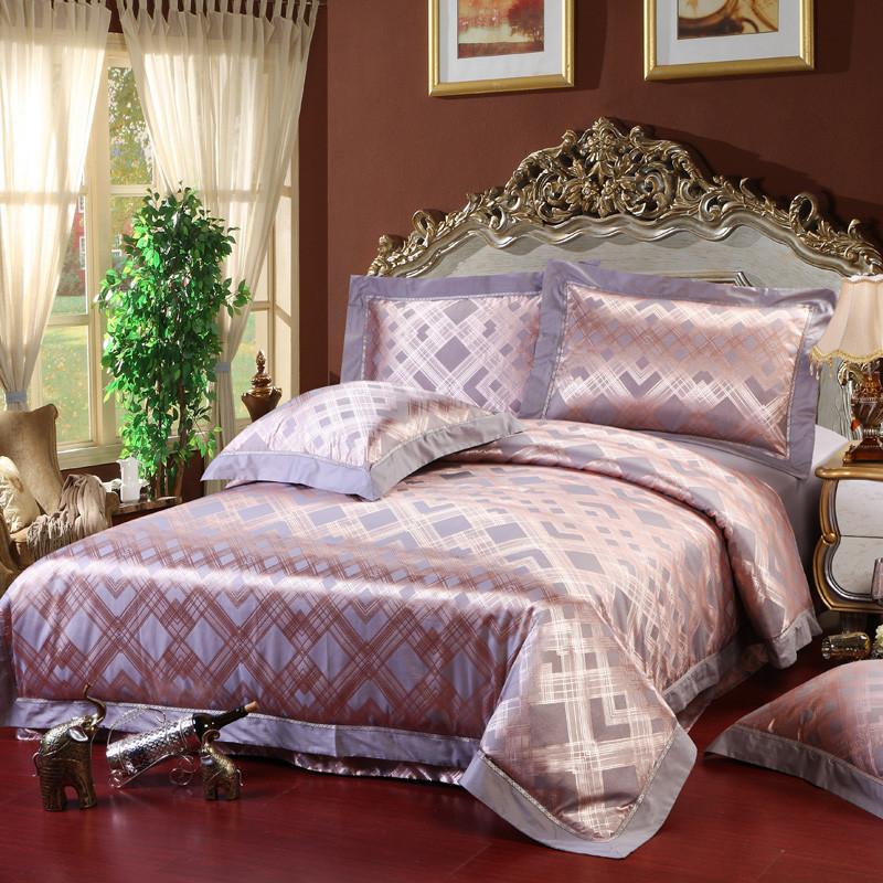 紫莎欧式丝绵提花植物花卉床单式宫廷风床品件套四件套