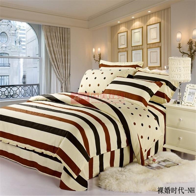 巢居良品 全棉全部人群四件套床單式田園風格活性印花 裸婚時代床品件套四件套