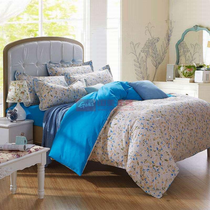 皇家皇朝 全棉所有人群四件套床單式田園風格活性印花 浪漫韻律(藍)床品件套四件套