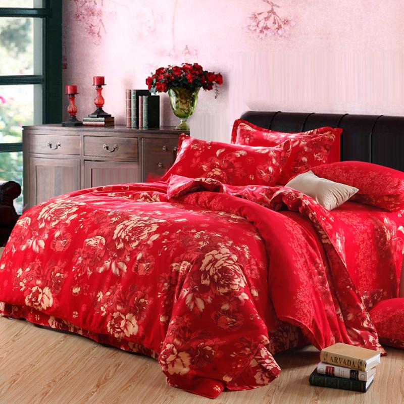 皇家皇朝 全棉所有人群四件套床單式歐洲風格磨毛 米蘭戀人大紅床品件套四件套