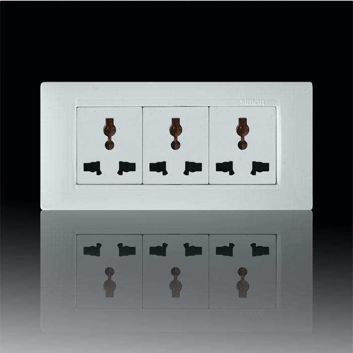 西蒙 雅白120型三三插10A 插座