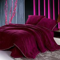 活性印花简约现代聚酯纤维珊瑚绒纯色床单式简约风 床品件套四件套
