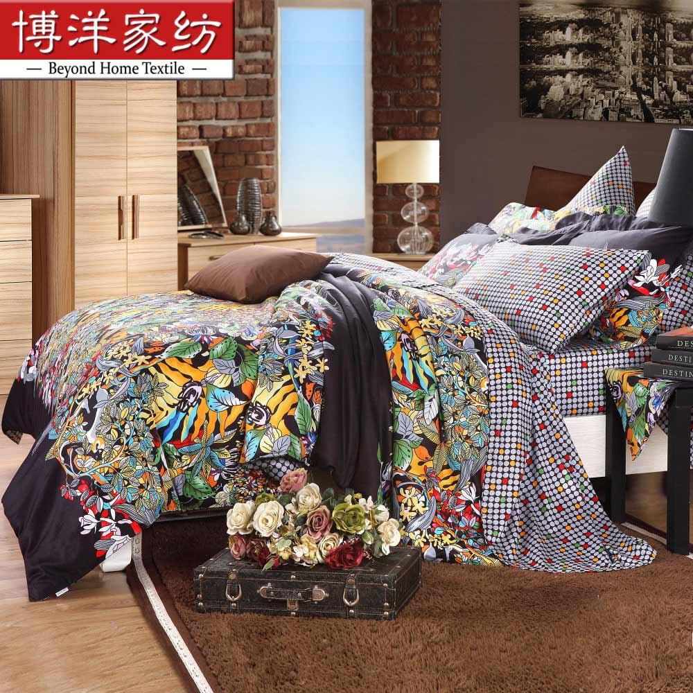 博洋波斯密语梵古密语欧式活性印花圆网印花植物花卉床单式欧美风床品件套四件套