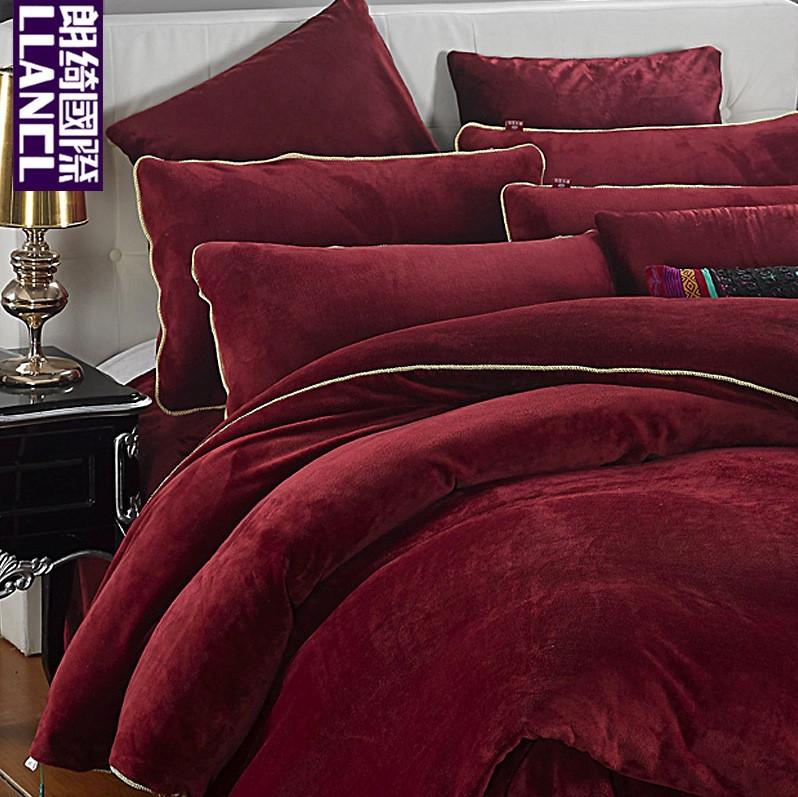朗绮国际活性印花简约现代聚酯纤维法拉绒纯色床单式简约风床品件套四件套