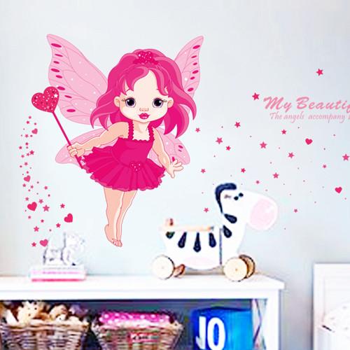 沃雅平面美女天使墙贴卡通动漫墙贴