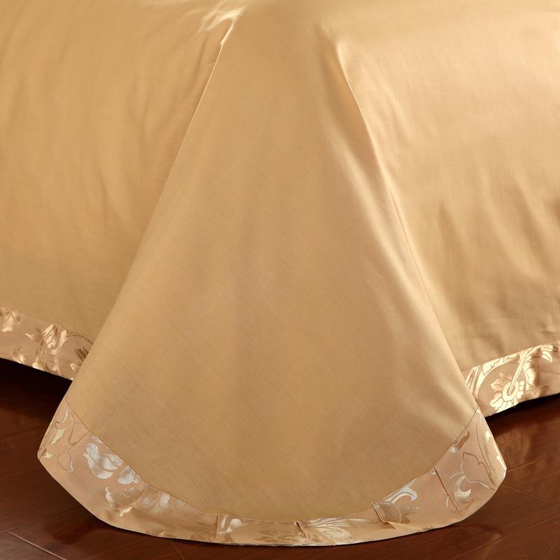 杉杉 欧式贴布绣荷叶边提花贡缎纯色床单式欧美风 床品件套四件套