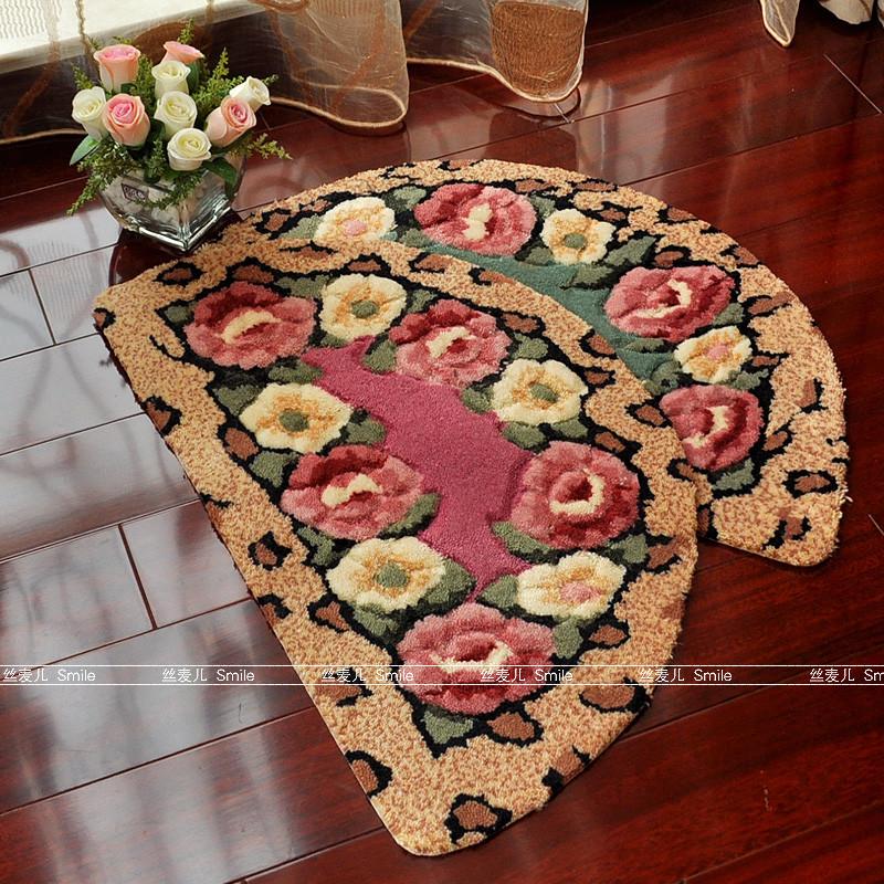 紫微绿色红色绒面门厅植物花卉田园机器织造地垫