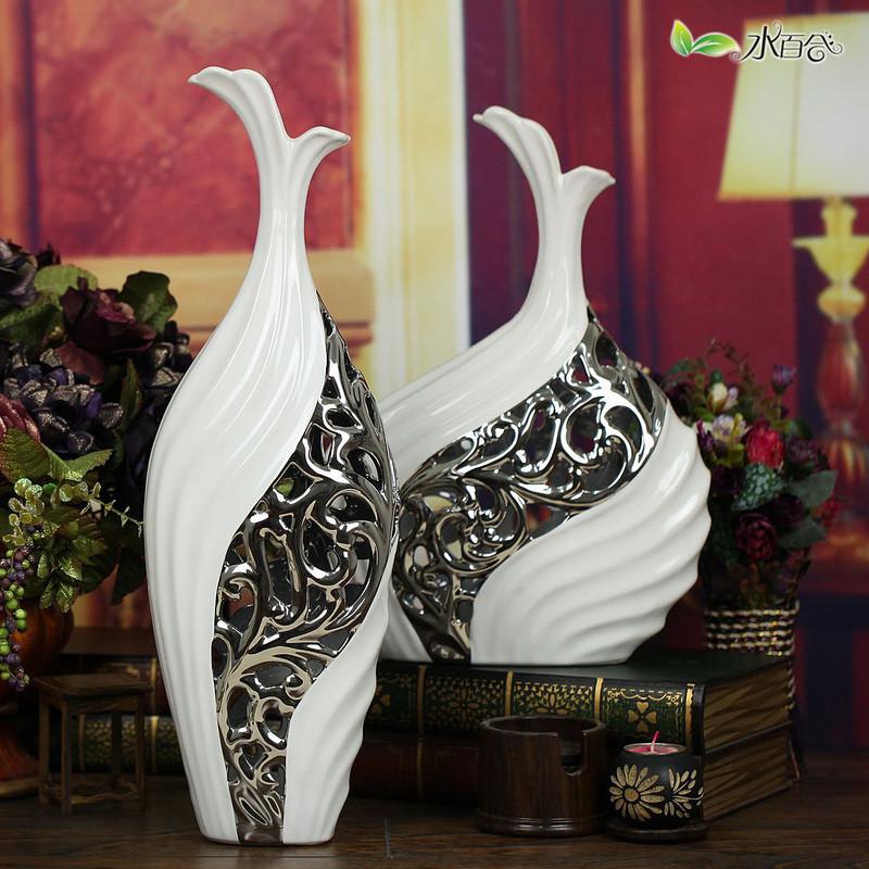 水百合 陶瓷台面9047*48—1B花瓶中号简约现代 花瓶
