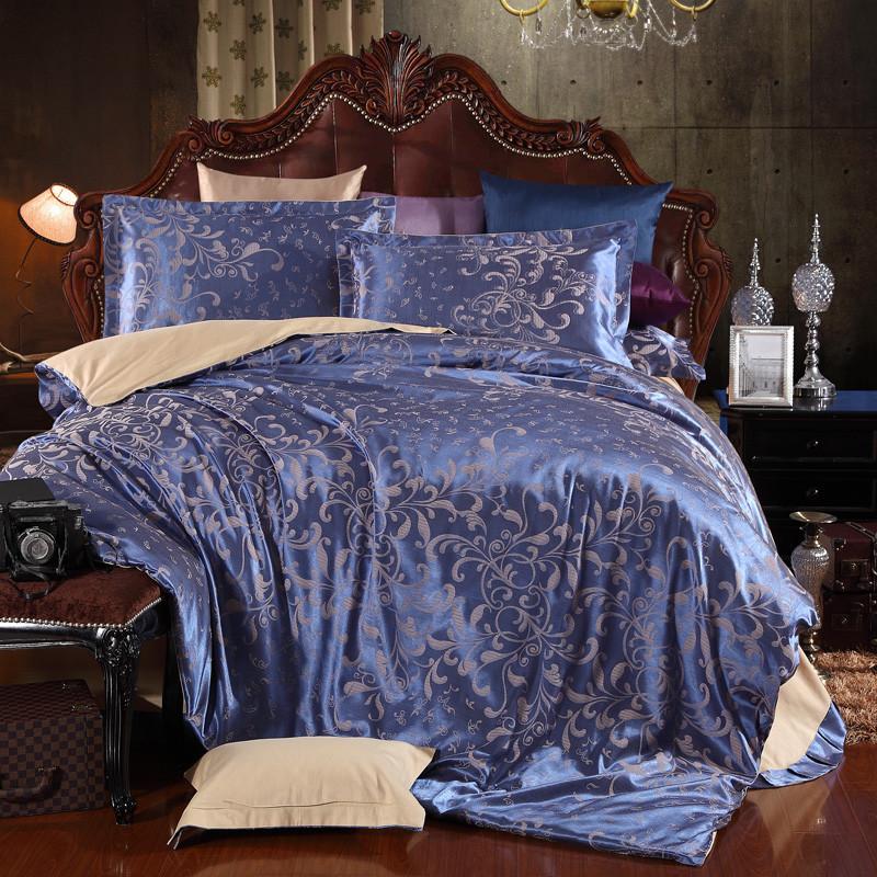 杉杉 简约现代贴布绣贡缎植物花卉床单式简约风 床品件套四件套