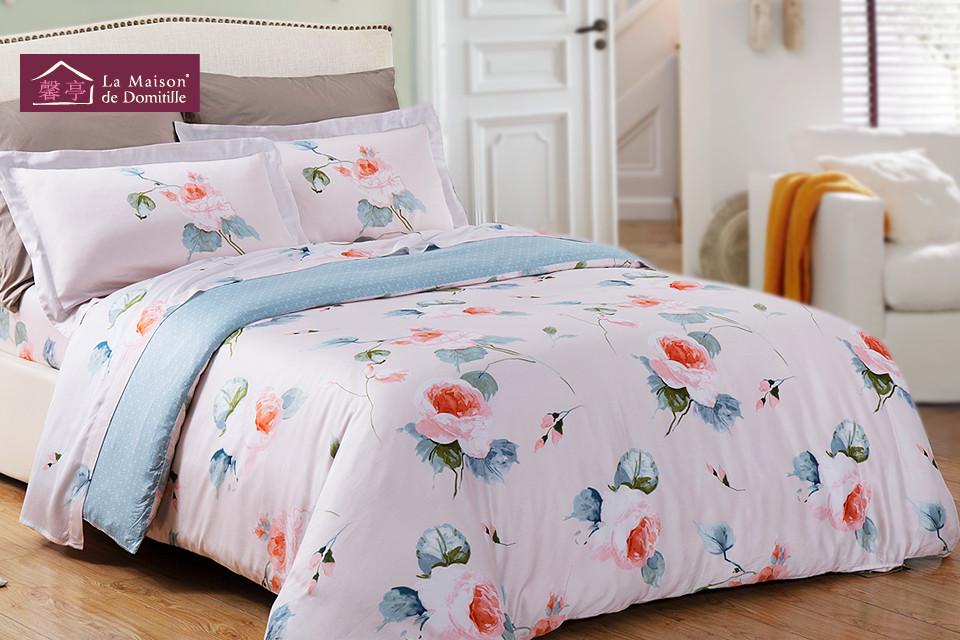 馨亭颜色如图-四件套活性印花欧式天丝贡缎植物花卉床单式欧美风床品件套四件套