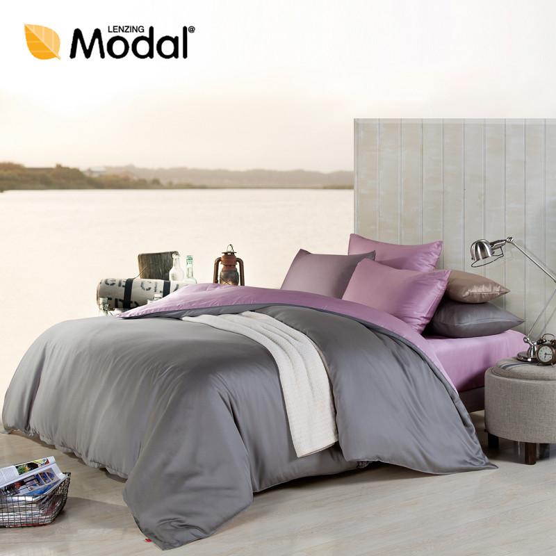 慢漫简约现代天丝纯色床笠式简约风床品件套四件套
