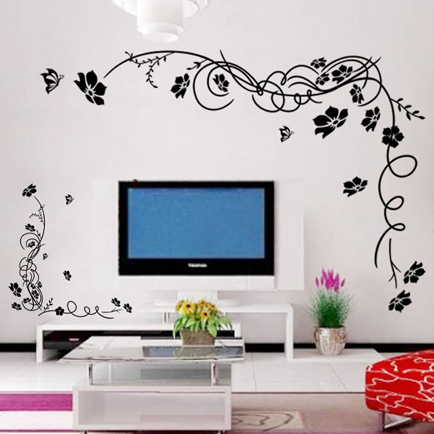 麦朵黑色玫红色平面墙贴抽象图案墙贴
