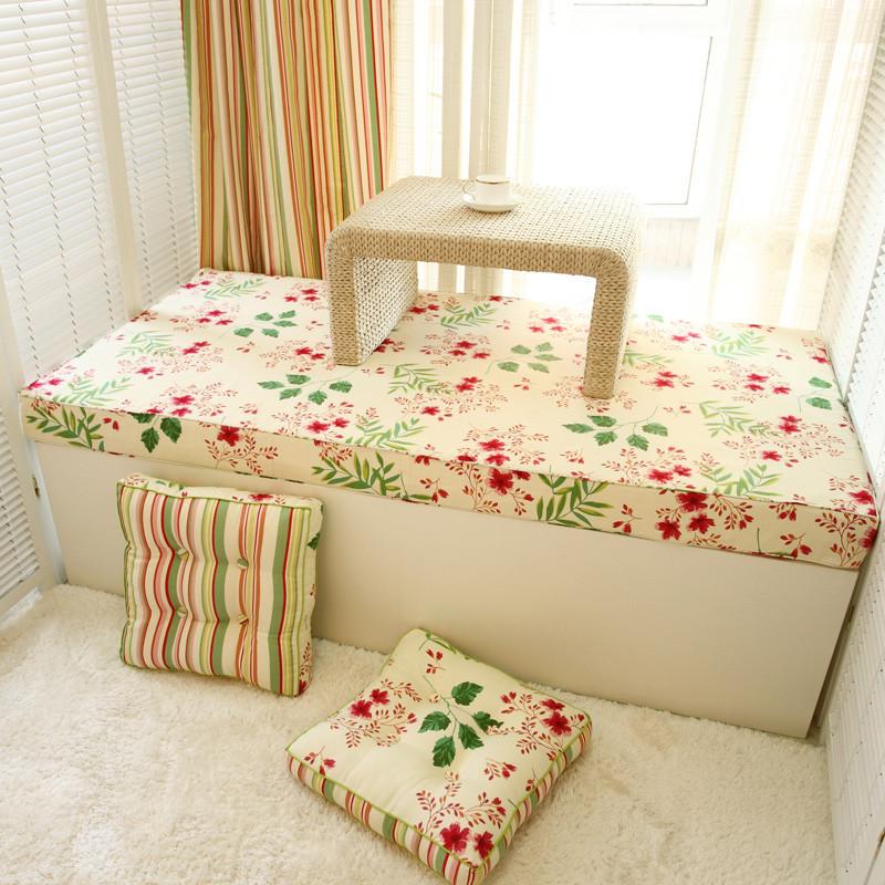 淺米陽光 布植物花卉田園 PC2006飄窗墊