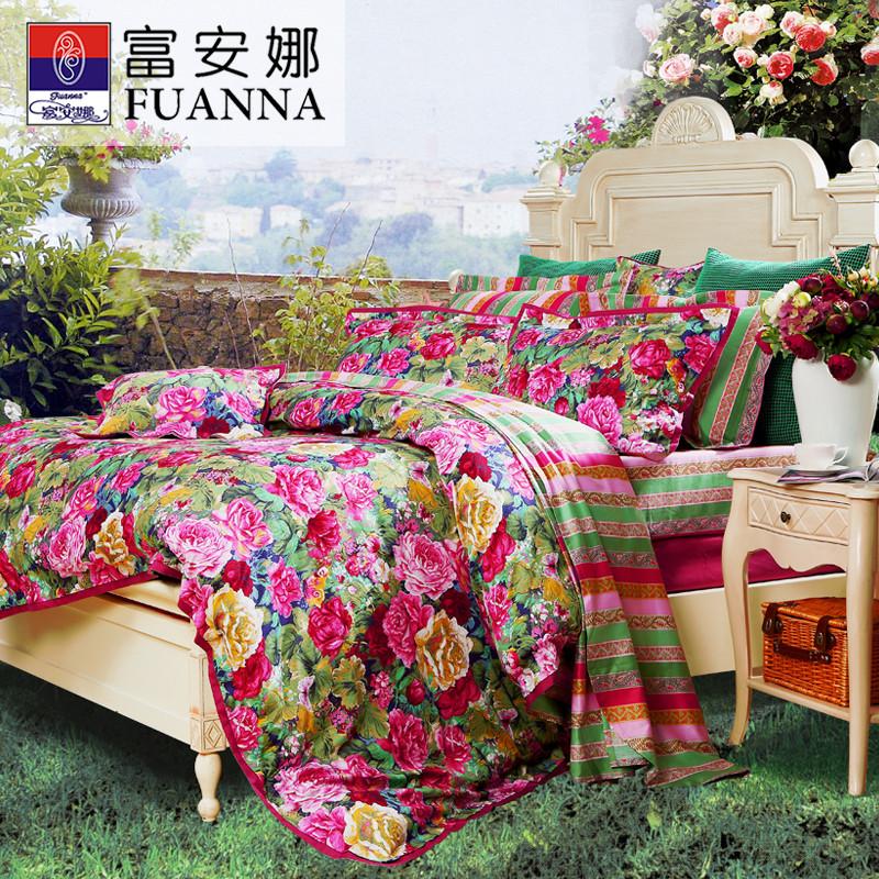 富安娜粉色(紫陌彼岸)田园贡缎植物花卉床单式欧美风床品件套四件套