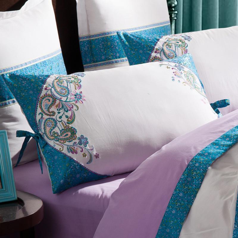 艾活性印花简约现代贴布绣斜纹长绒棉几何图案床单式欧美风床品件套四件套