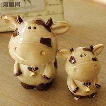 大号小号两件套陶瓷动物桌面摆件 铃铛