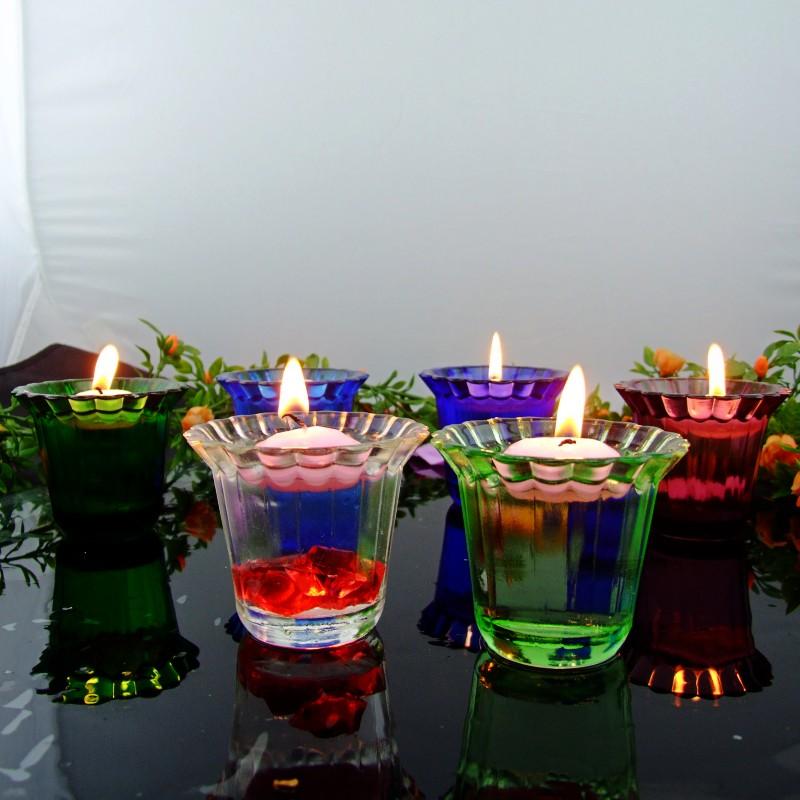 萬得福 玻璃塊狀蠟燭歐式 f45燭臺