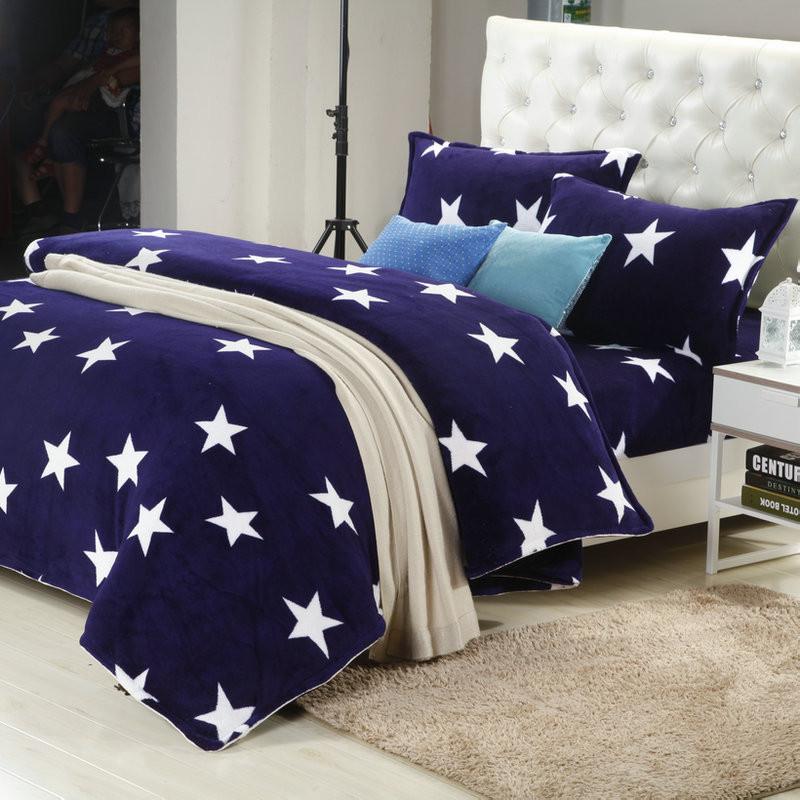 天绚 珊瑚绒成年人四件套床单式几何图形活性印花 星星点点床品件套四件套