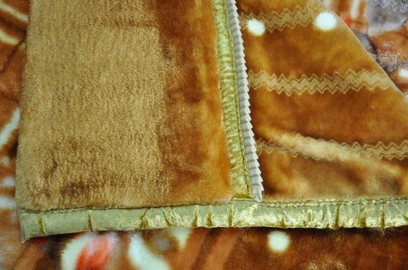 美雅 677黄棕5%拉舍尔毛毯一等品冬季植物花卉简约现代 毛毯
