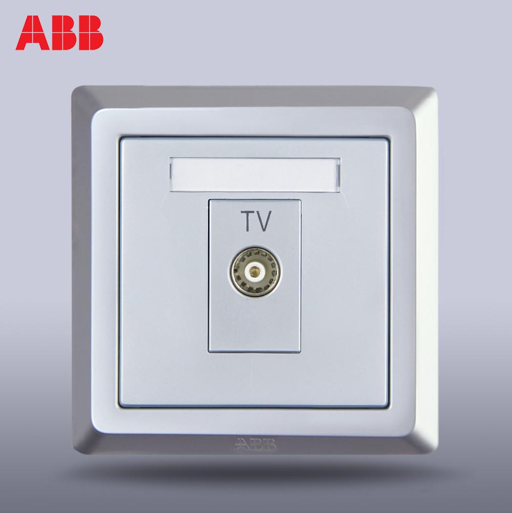 ABB 银色86型单电视 插座